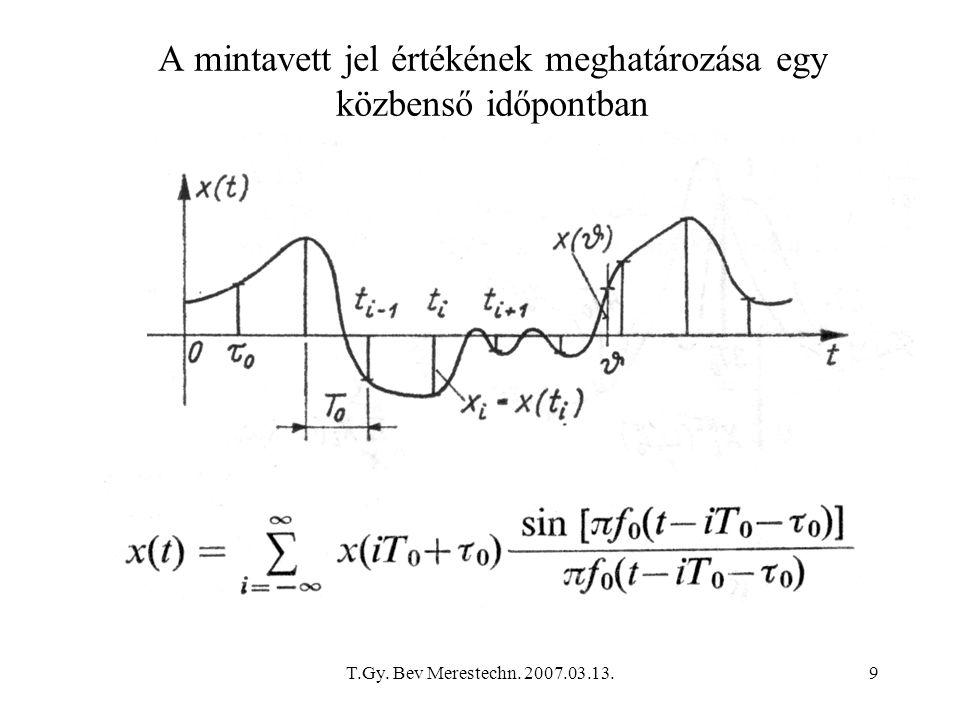T.Gy. Bev Merestechn. 2007.03.13.9 A mintavett jel értékének meghatározása egy közbenső időpontban