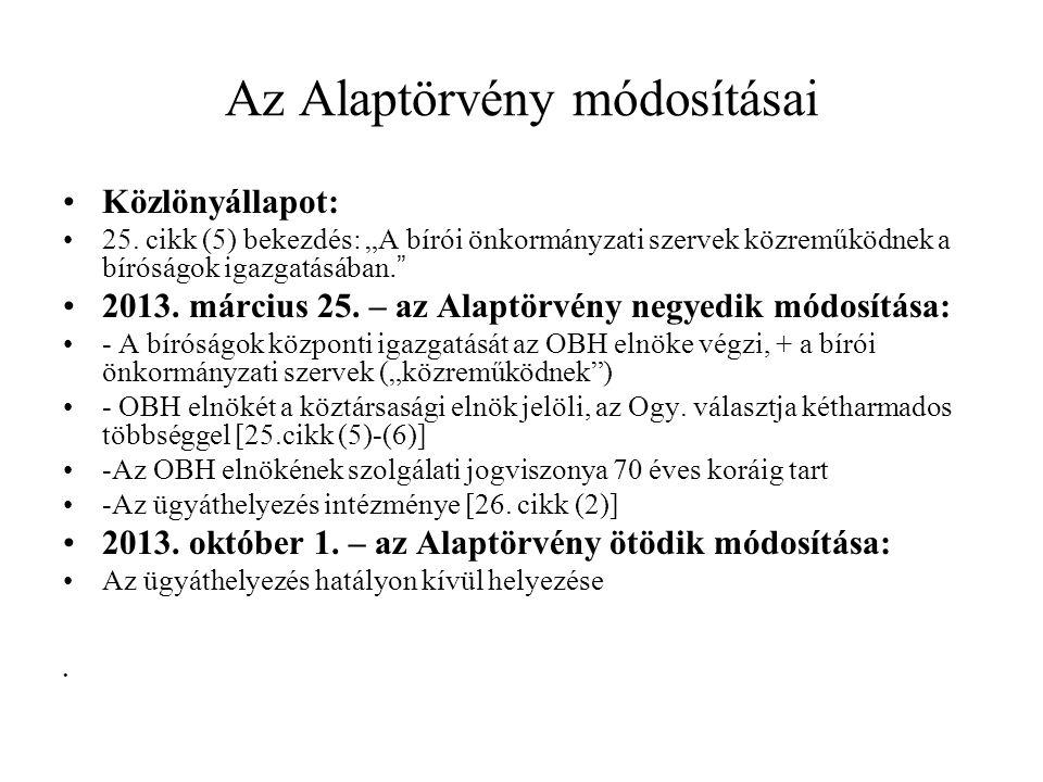 Az Alaptörvény módosításai Közlönyállapot: 25.