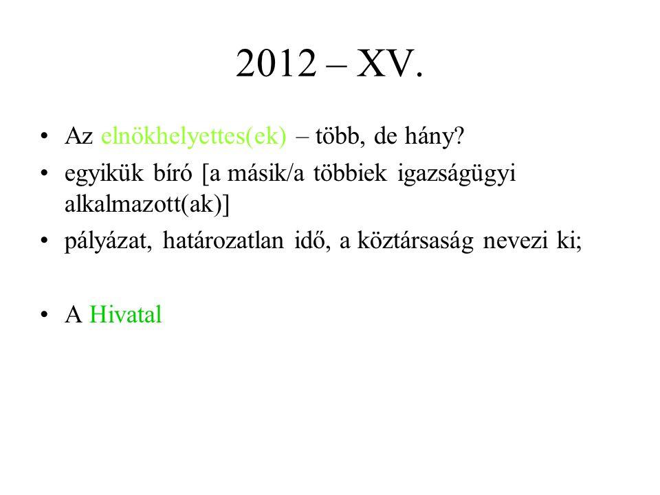 2012 – XV.Az elnökhelyettes(ek) – több, de hány.