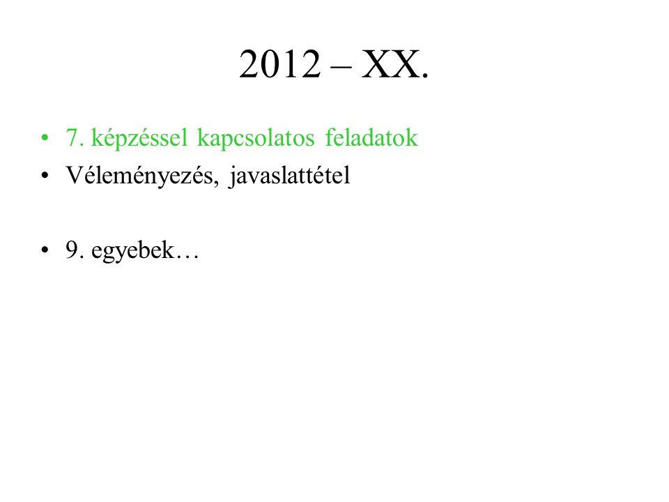 2012 – XX. 7. képzéssel kapcsolatos feladatok Véleményezés, javaslattétel 9. egyebek…