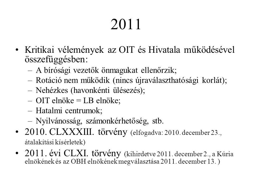 2011 Kritikai vélemények az OIT és Hivatala működésével összefüggésben: –A bírósági vezetők önmagukat ellenőrzik; –Rotáció nem működik (nincs újraválaszthatósági korlát); –Nehézkes (havonkénti ülésezés); –OIT elnöke = LB elnöke; –Hatalmi centrumok; –Nyilvánosság, számonkérhetőség, stb.