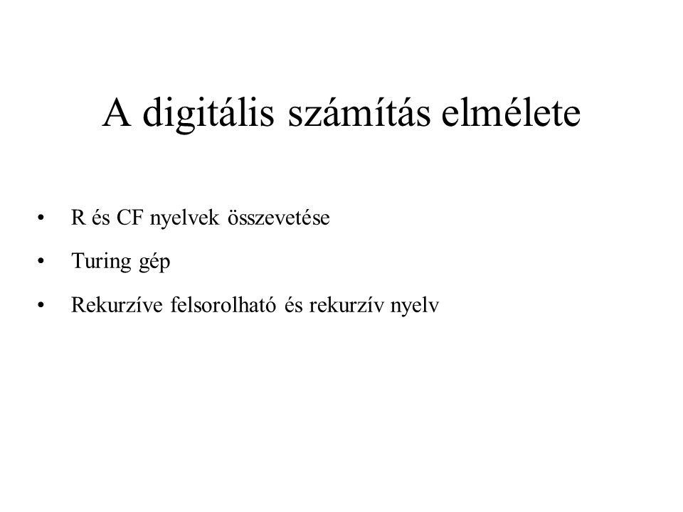 A digitális számítás elmélete R és CF nyelvek összevetése Turing gép Rekurzíve felsorolható és rekurzív nyelv