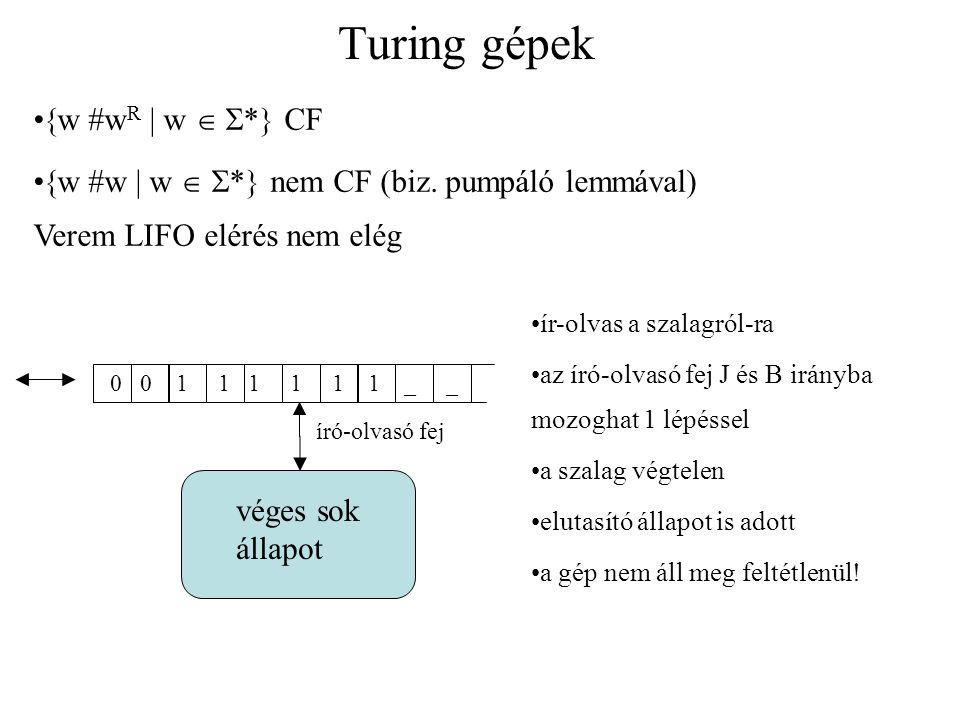 Turing gépek véges sok állapot 0 0 1 1 1 1 1 1 _ _ író-olvasó fej  w #w R  w   *  CF  w #w  w   *  nem CF (biz. pumpáló lemmával) Verem LIFO
