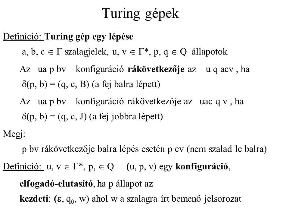 Turing gépek Definíció: Turing gép egy lépése a, b, c   szalagjelek  u, v   *  p, q  Q  állapotok Az ua p bv konfiguráció rákövetkezője