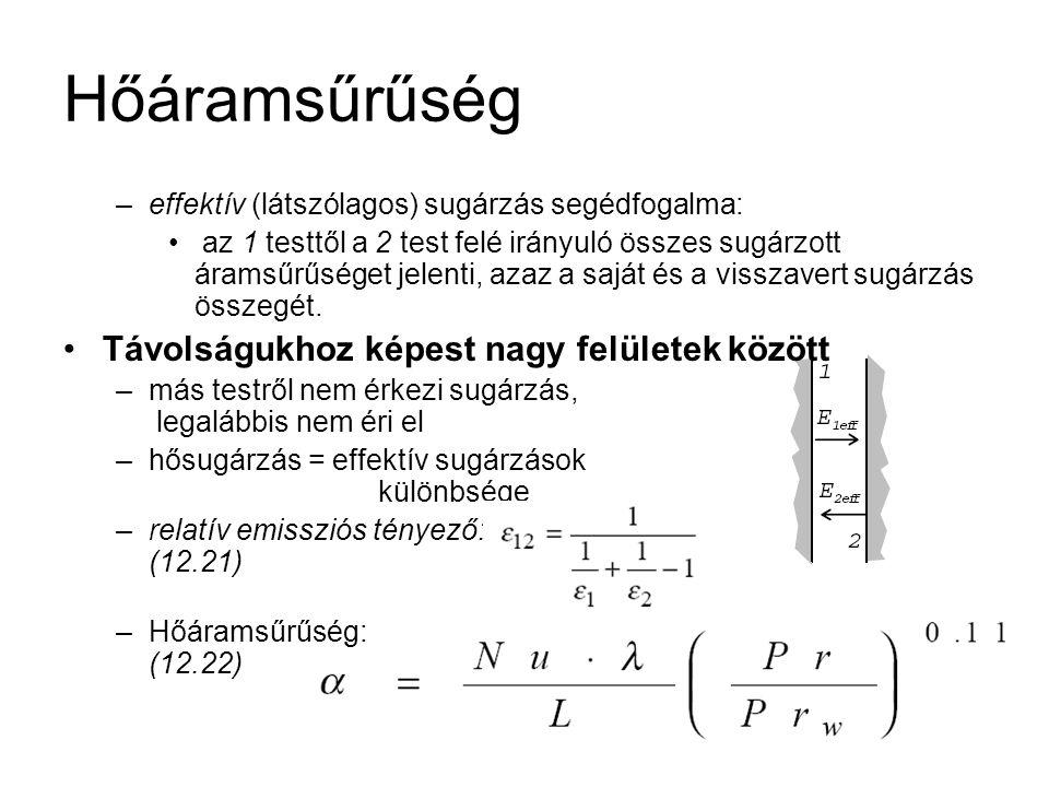 –effektív (látszólagos) sugárzás segédfogalma: az 1 testtől a 2 test felé irányuló összes sugárzott áramsűrűséget jelenti, azaz a saját és a visszaver