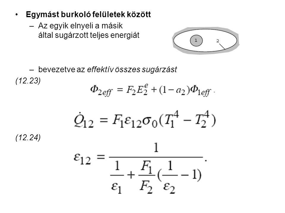 Egymást burkoló felületek között –Az egyik elnyeli a másik által sugárzott teljes energiát –bevezetve az effektív összes sugárzást (12.23) (12.24)