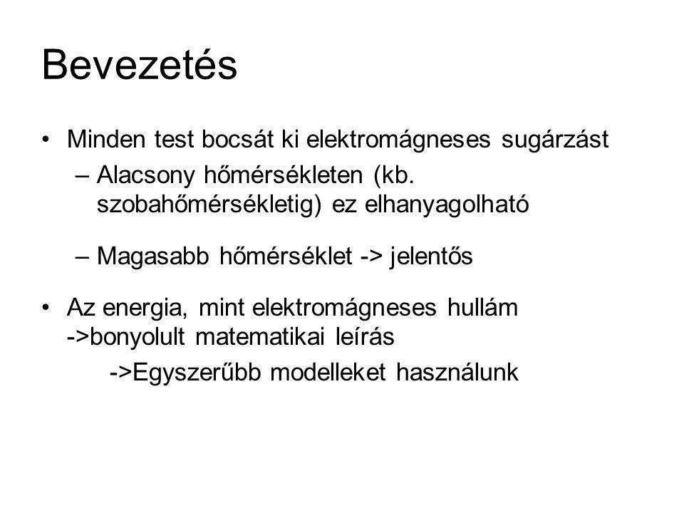 Bevezetés Minden test bocsát ki elektromágneses sugárzást –Alacsony hőmérsékleten (kb.