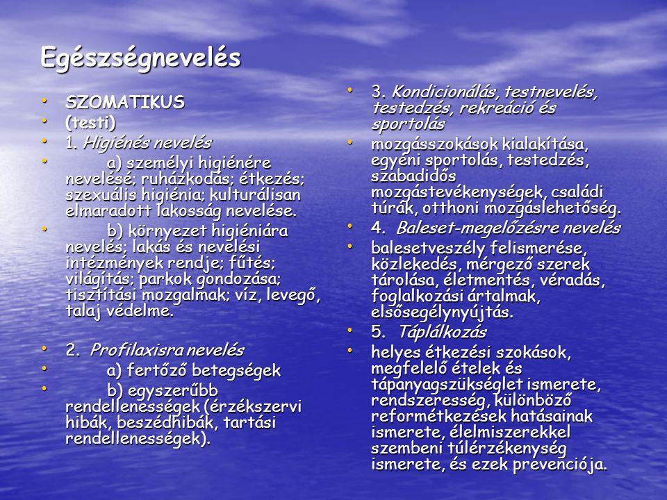 Egészségnevelés SZOMATIKUS SZOMATIKUS (testi) (testi) 1. Higiénés nevelés 1. Higiénés nevelés a) személyi higiénére nevelésé; ruházkodás; étkezés; sze