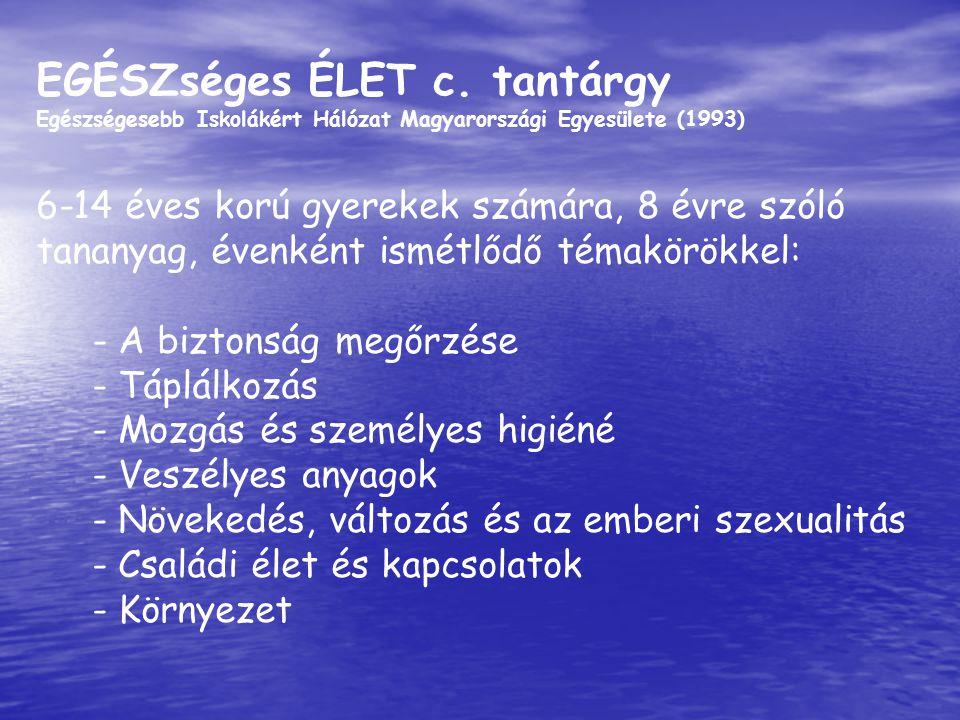 EGÉSZséges ÉLET c. tantárgy Egészségesebb Iskolákért Hálózat Magyarországi Egyesülete (1993) 6-14 éves korú gyerekek számára, 8 évre szóló tananyag, é