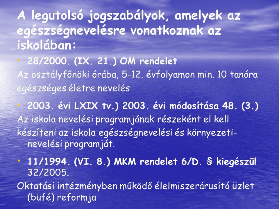 A legutolsó jogszabályok, amelyek az egészségnevelésre vonatkoznak az iskolában: 28/2000. (IX. 21.) OM rendelet Az osztályfőnöki órába, 5-12. évfolyam