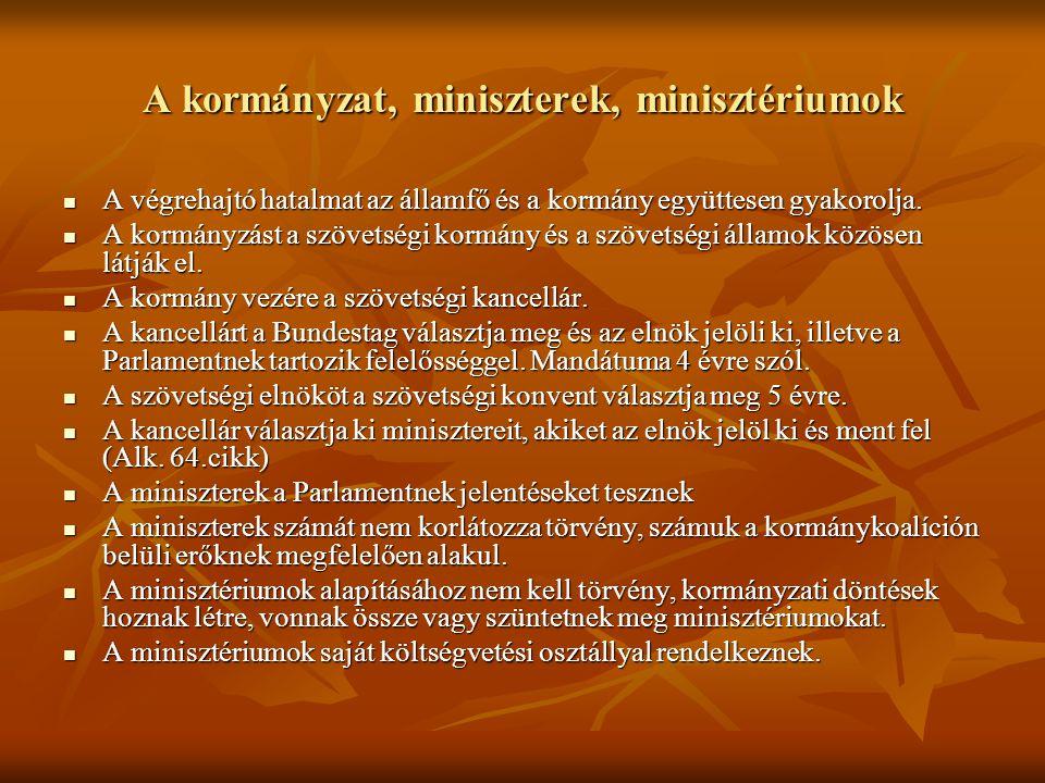 A kormányzat, miniszterek, minisztériumok A végrehajtó hatalmat az államfő és a kormány együttesen gyakorolja. A végrehajtó hatalmat az államfő és a k