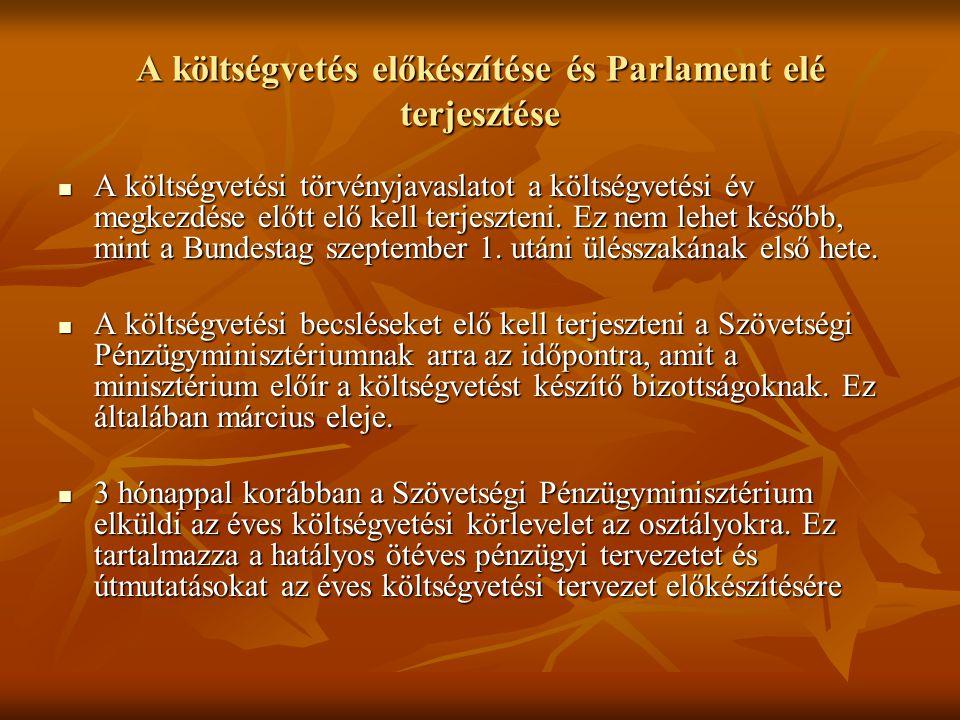 A költségvetés előkészítése és Parlament elé terjesztése A költségvetési törvényjavaslatot a költségvetési év megkezdése előtt elő kell terjeszteni. E