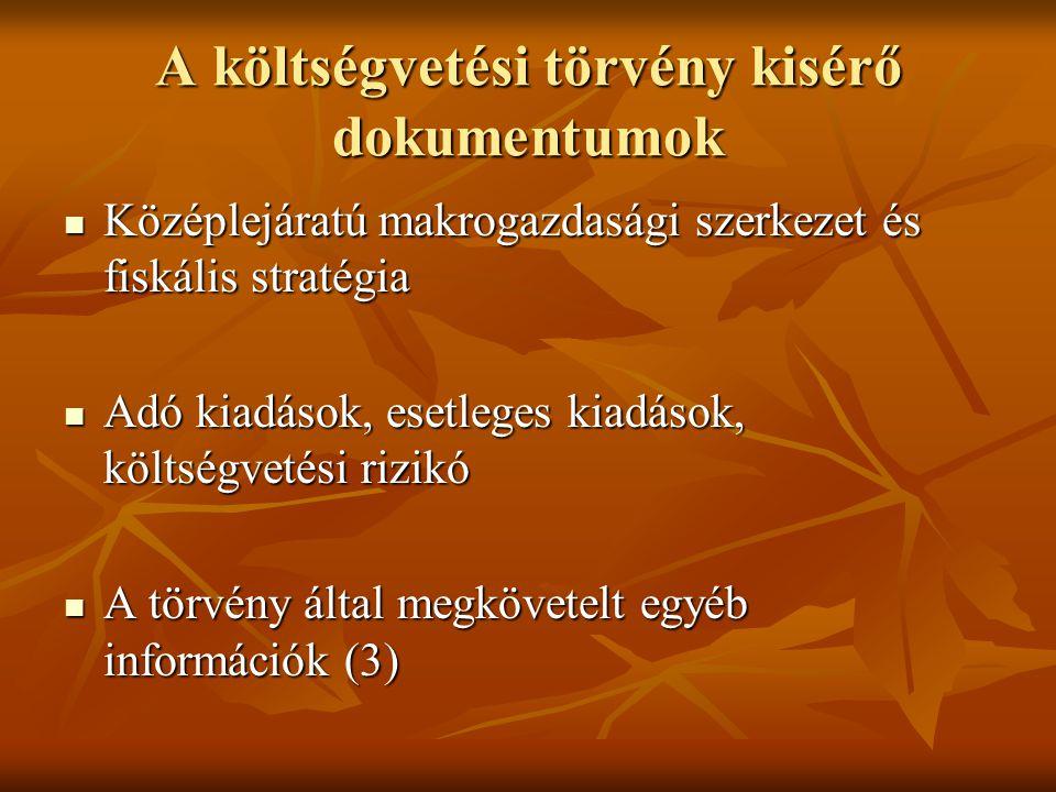 A költségvetési törvény kisérő dokumentumok Középlejáratú makrogazdasági szerkezet és fiskális stratégia Középlejáratú makrogazdasági szerkezet és fis
