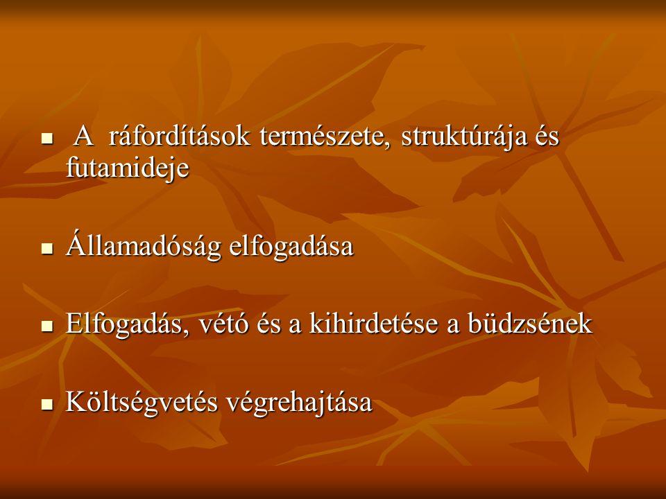 A ráfordítások természete, struktúrája és futamideje A ráfordítások természete, struktúrája és futamideje Államadóság elfogadása Államadóság elfogadás