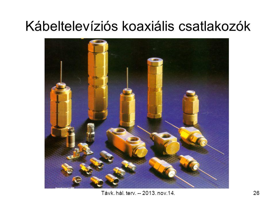 """Távk. hál. terv. -- 2013. nov.14.25 Tipikus koaxiális kábelátmérők 0.242""""RG-59 0.625""""T10-625 0.272""""RG-60.700""""TX10-700 0.340""""RG-70.750T10-750 0.405""""RG-"""