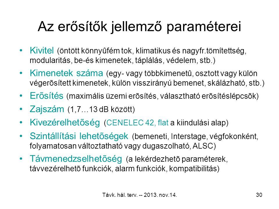 Távk. hál. terv. -- 2013. nov.14.29 Kábeltelevíziós erősítő