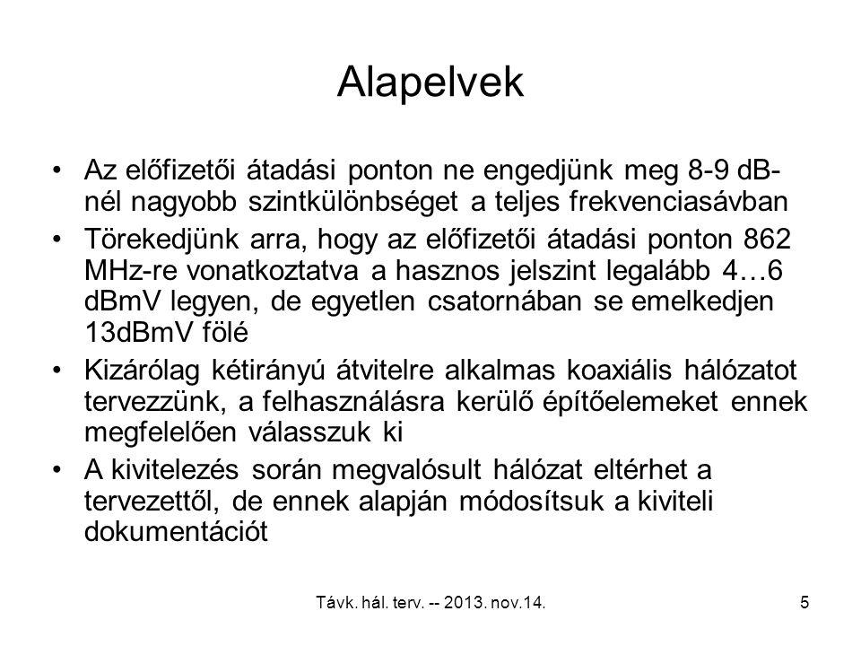 Távk. hál. terv. -- 2013. nov.14.4 Alapelvek Az előfizetői átadási pontra vonatkozó szabvány- követelményekre hálózatot tervezni hibás döntés A tervez