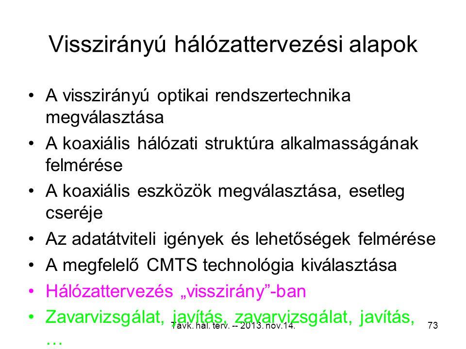 Távk. hál. terv. -- 2013. nov.14.72 CSO produktumok halmozódása
