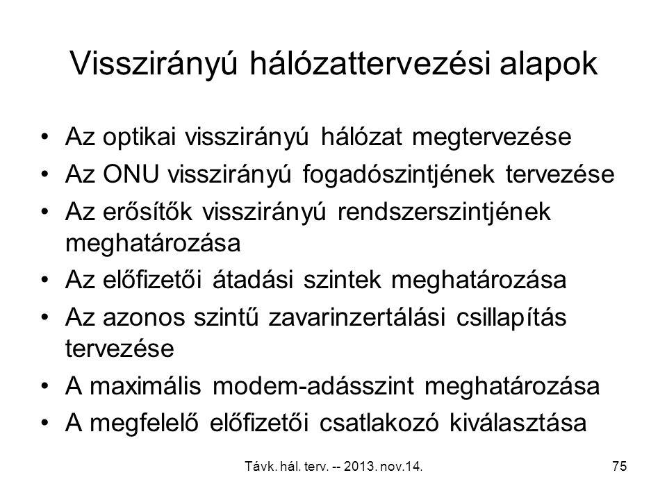 Távk. hál. terv. -- 2013. nov.14.74 Zavarmentesítés A foglalt frekvenciasávok kihagyása A rendszer üzemi frekvenciáinak ismerete Megfelelő fedettségű