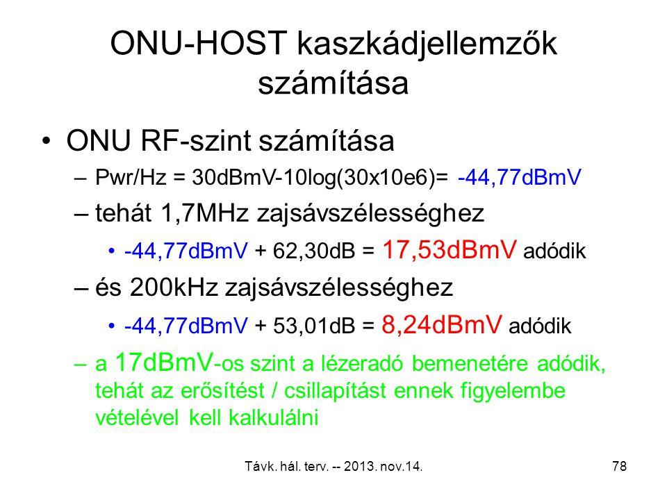 Távk. hál. terv. -- 2013. nov.14.77 ONU-HOST kaszkádjellemzők számítása Kiindulási adatok –Az ONU-körzet zajszintje-20 dBmV –16 db 1,7MHz-es zajsávszé