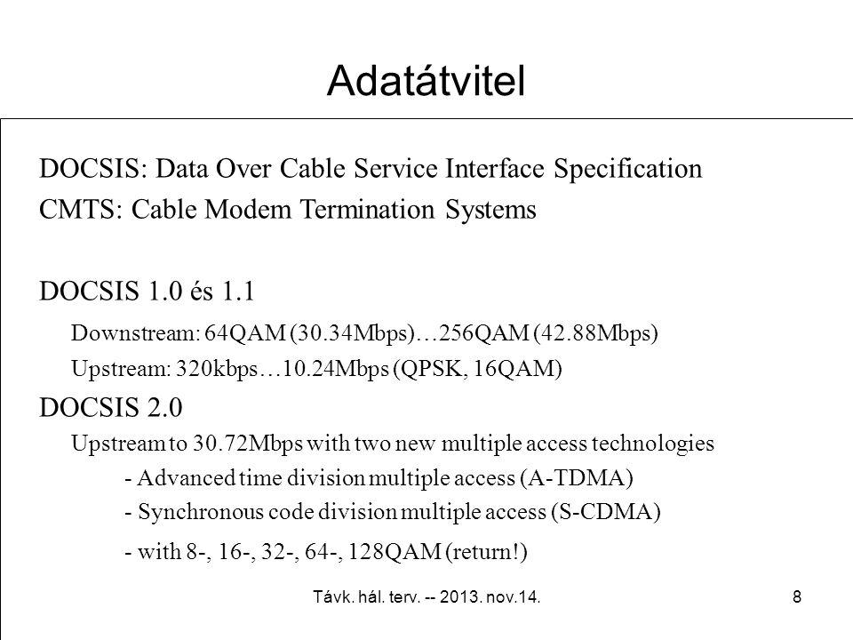 Távk. hál. terv. -- 2013. nov.14.7 Szabványok, előírások ME-17-015 Távközlő hálózatok rajzjelei és jelölései MMD 3-3 Kábeltelevíziós hálózatok telepít
