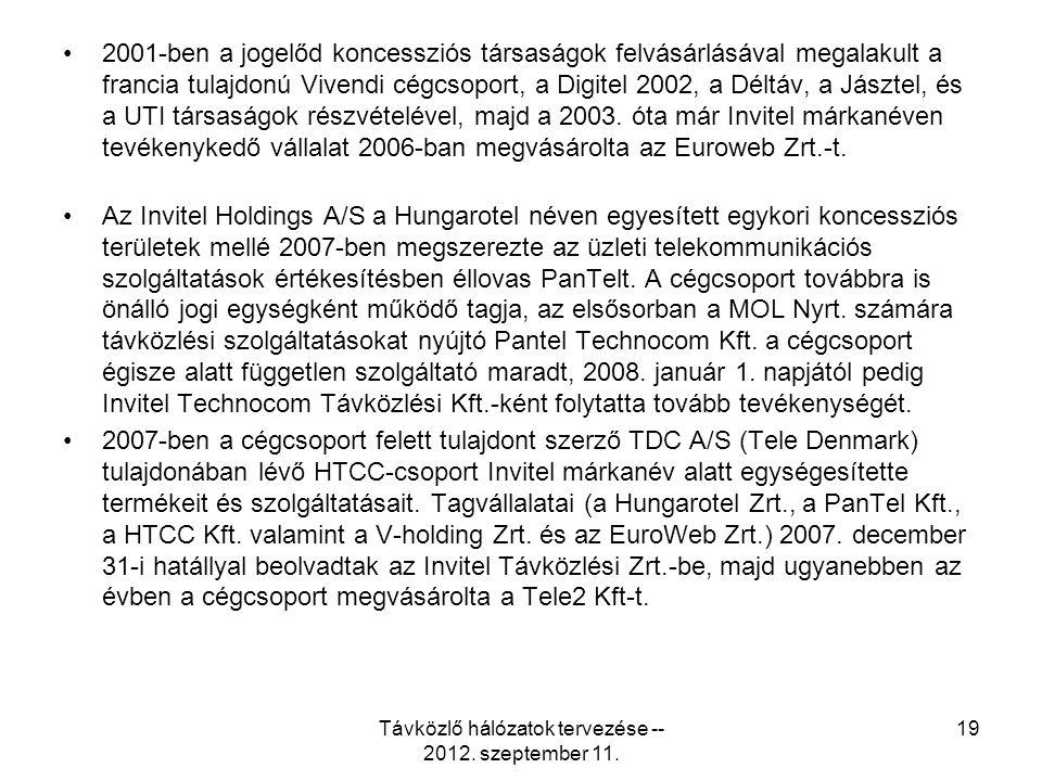 2001-ben a jogelőd koncessziós társaságok felvásárlásával megalakult a francia tulajdonú Vivendi cégcsoport, a Digitel 2002, a Déltáv, a Jásztel, és a UTI társaságok részvételével, majd a 2003.
