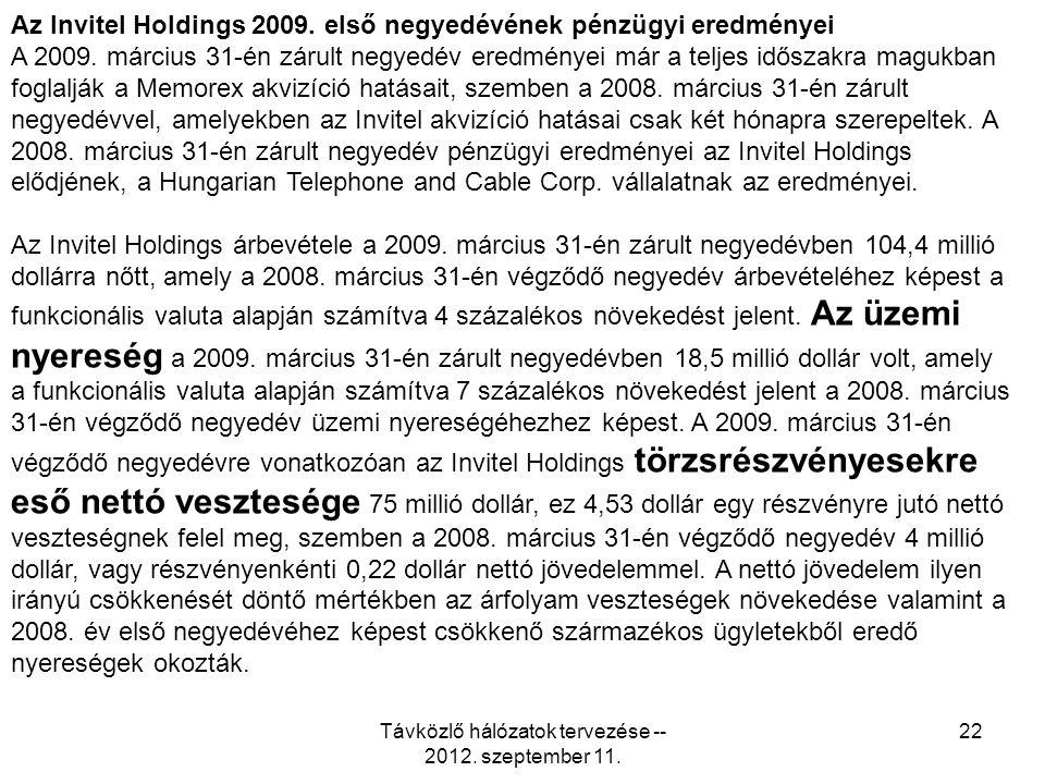 Távközlő hálózatok tervezése -- 2012. szeptember 11.