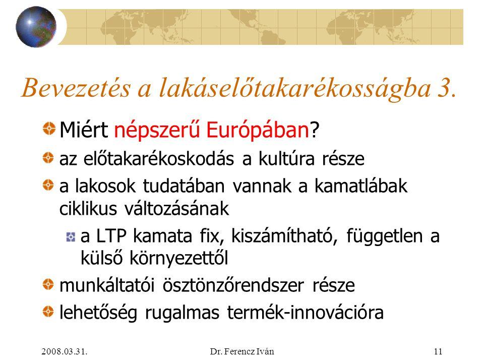 2008.03.31.Dr. Ferencz Iván10 Bevezetés a lakáselőtakarékosságba 2. Lakossági elterjedtség (penetráció) Németország: 40% Ausztria: 65% Csehország: 45%