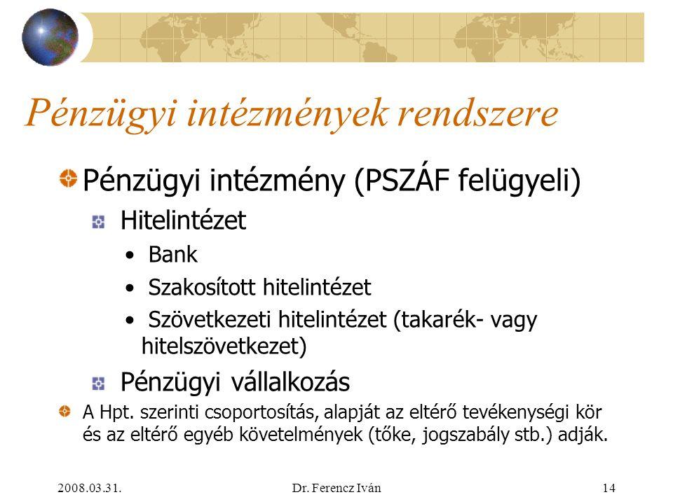 2008.03.31.Dr. Ferencz Iván13 A jelenlegi jogszabályi környezet 1996:CXII. tv. A hitelintézetekről és a pénzügyi vállalkozásokról (Hpt.) 1996:CXIII. t