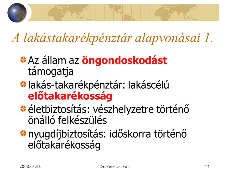 2008.03.31.Dr. Ferencz Iván16 Szakosított hitelintézetek 2. Magyar Fejlesztési Bank Magyar Export-Import Bank Jelzálog-hitelintézetek Lakás-takarékpén