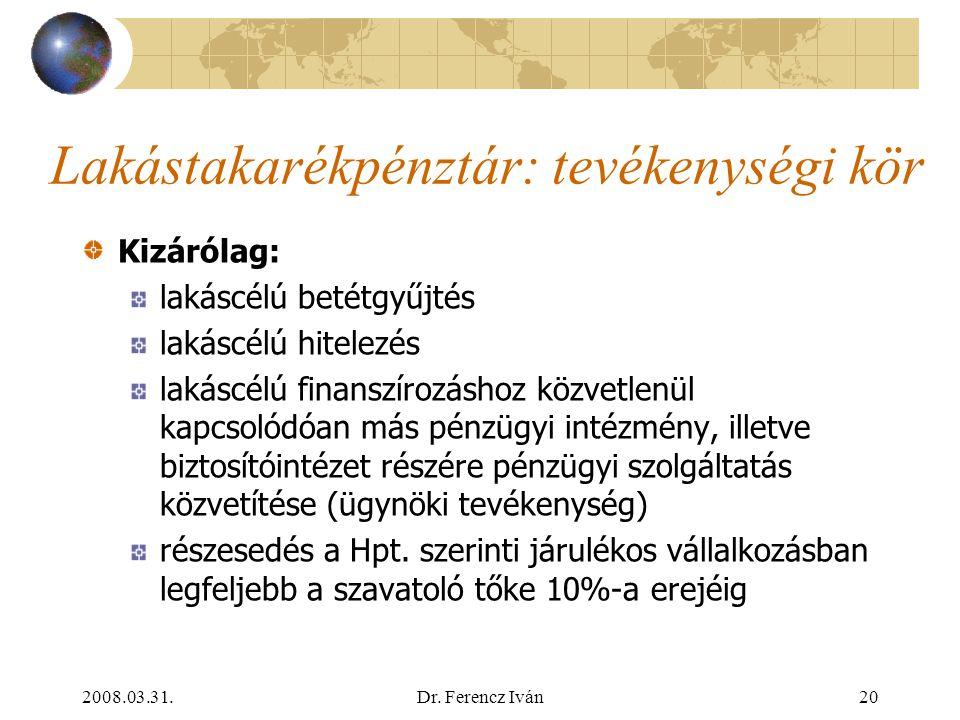2008.03.31.Dr. Ferencz Iván19 A lakástakarékpénztár alapvonásai 3. Speciális szabályozás: Ltp.tv. és két Korm. r. Kizárólagosság a lakástakarék-üzletr