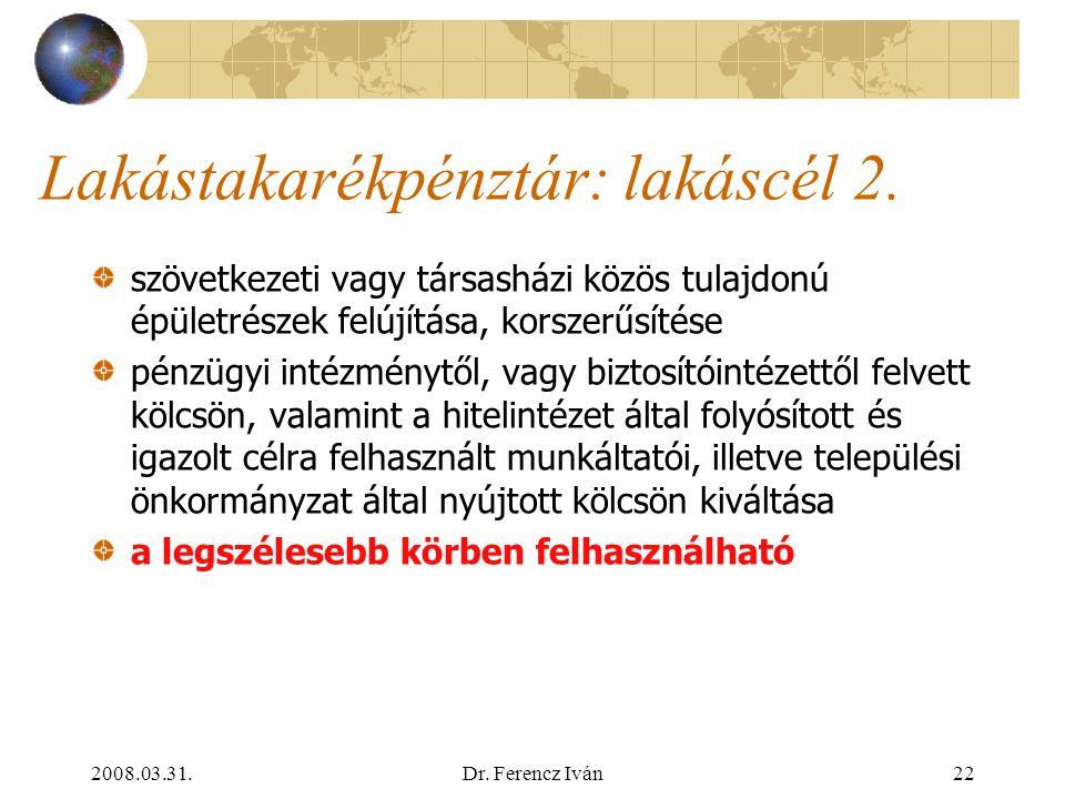 2008.03.31.Dr. Ferencz Iván21 Lakástakarékpénztár: lakáscél 1. Lakótelek, lakás, családi ház, tanyai lakóingatlan vásárlása, építése, cseréje, nyugdíj