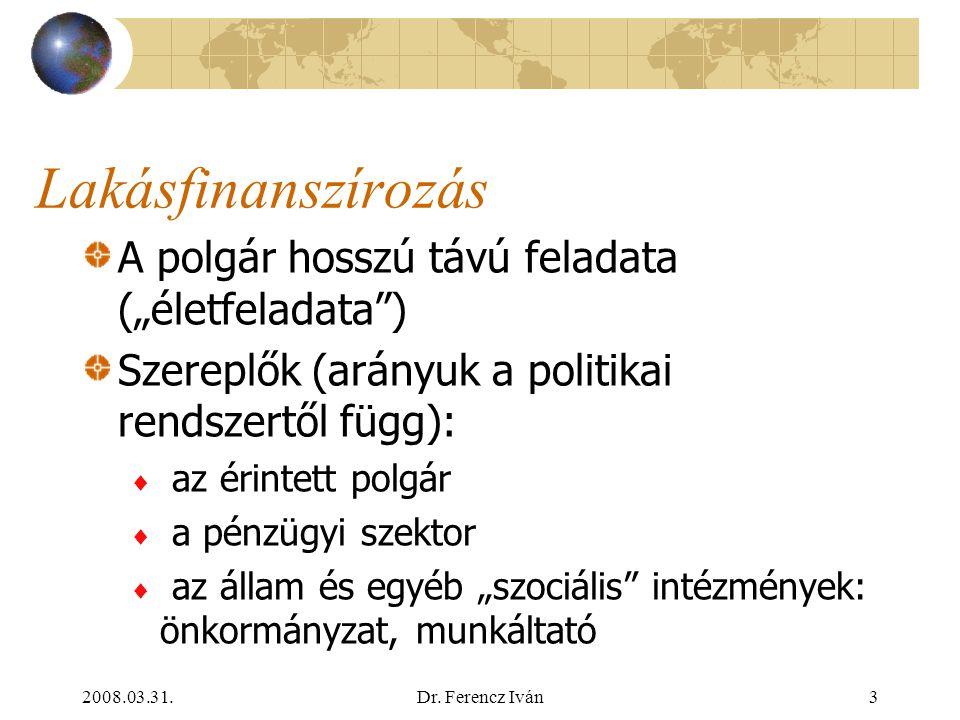 2008.03.31.Dr. Ferencz Iván2 A lakhatás igénye Alapvető emberi igény és jog A mindenkori kormányok gazdaságpolitikájának kiemelt területe a lakáspolit