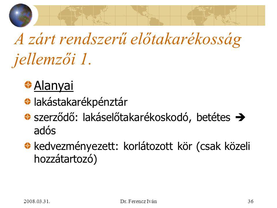 2008.03.31.Dr. Ferencz Iván35 A lakáshitelezés fejlődését hátráltató tényezők Csak nagy mértékű állami szerepvállalás mellett érhető el a vállalható k