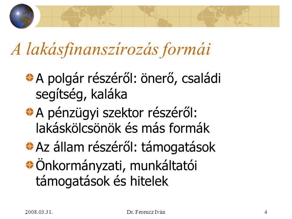 """2008.03.31.Dr. Ferencz Iván3 Lakásfinanszírozás A polgár hosszú távú feladata (""""életfeladata"""") Szereplők (arányuk a politikai rendszertől függ):  az"""