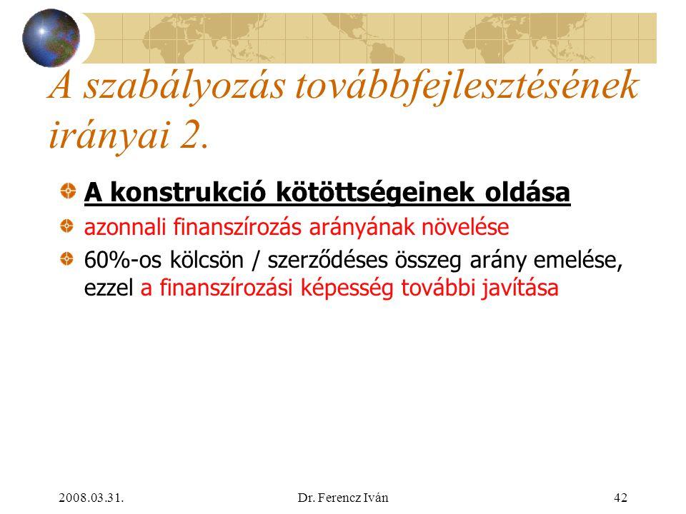 2008.03.31.Dr. Ferencz Iván41 A szabályozás továbbfejlesztésének irányai 1. Új termékek munkáltatói befizetés (önkéntes nyugdíj- és egészségpénztári m