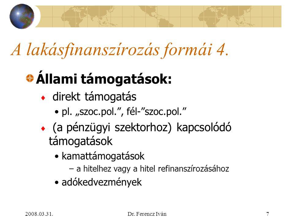 2008.03.31.Dr. Ferencz Iván6 A lakásfinanszírozás formái 3. A pénzügyi szektor által nyújtott egyéb lakásfinanszírozási formák:  lízing  vásárói cso