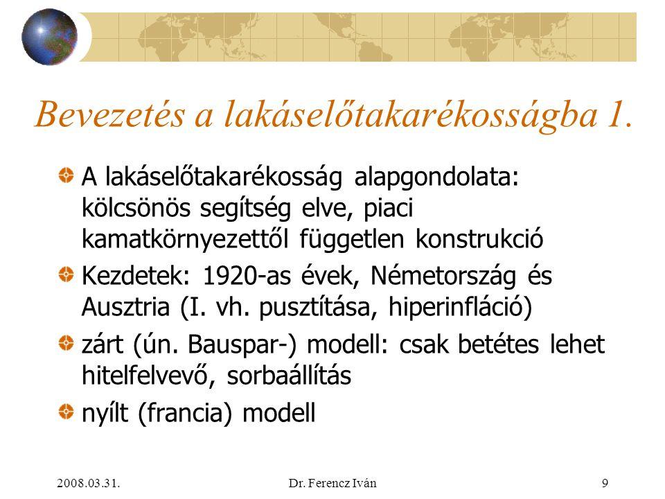 2008.03.31.Dr. Ferencz Iván8 A lakásfinanszírozás formái 5. Állami támogatások:  nagyon eltérő közgazdasági hatékonyság (tőkeáttétel): egyszerestől (