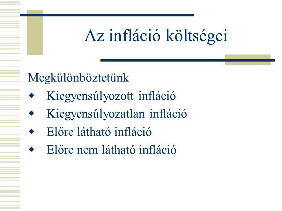 Az infláció költségei Megkülönböztetünk  Kiegyensúlyozott infláció  Kiegyensúlyozatlan infláció  Előre látható infláció  Előre nem látható infláci