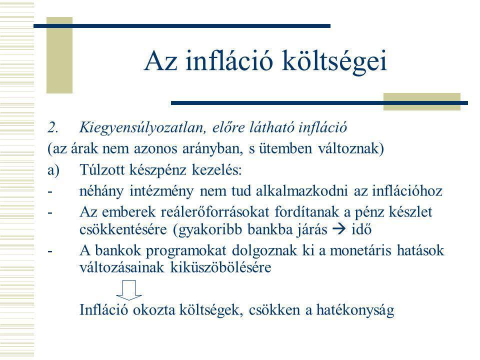 Az infláció költségei 2. Kiegyensúlyozatlan, előre látható infláció (az árak nem azonos arányban, s ütemben változnak) a)Túlzott készpénz kezelés: -né
