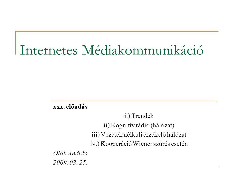 1 Internetes Médiakommunikáció xxx. előadás i.) Trendek ii) Kognitív rádió (hálózat) iii) Vezeték nélküli érzékelő hálózat iv.) Kooperáció Wiener szűr