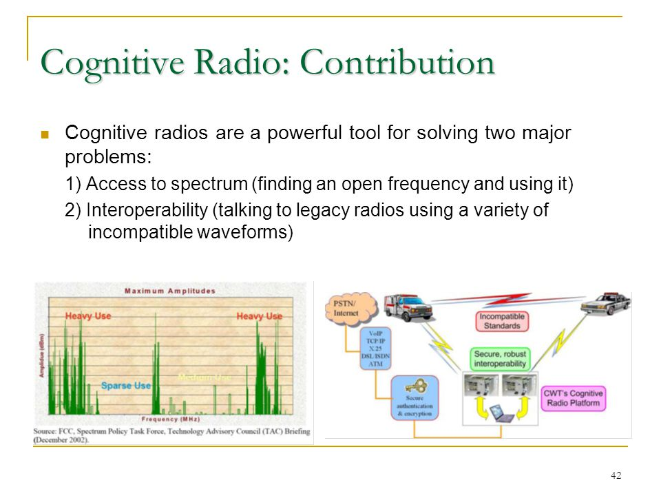 42 Cognitive Radio: Contribution Cognitive radios are a powerful tool for solving two major problems: 1) Access to spectrum (finding an open frequency