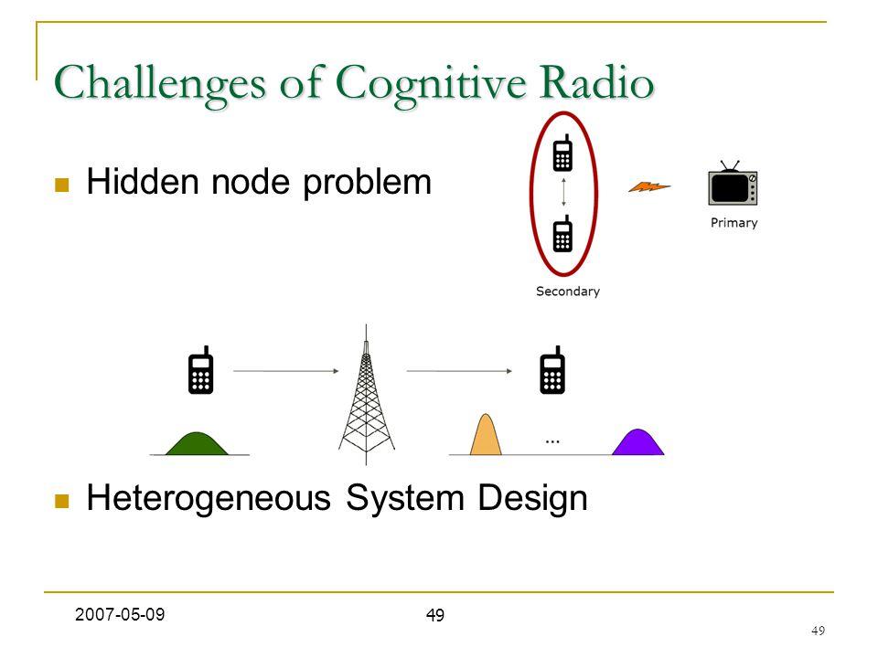 49 Challenges of Cognitive Radio Hidden node problem Heterogeneous System Design 2007-05-09 49