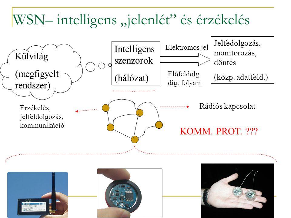 """55 WSN– intelligens """"jelenlét és érzékelés Külvilág (megfigyelt rendszer) Intelligens szenzorok (hálózat) Elektromos jel Jelfedolgozás, monitorozás, döntés (közp."""