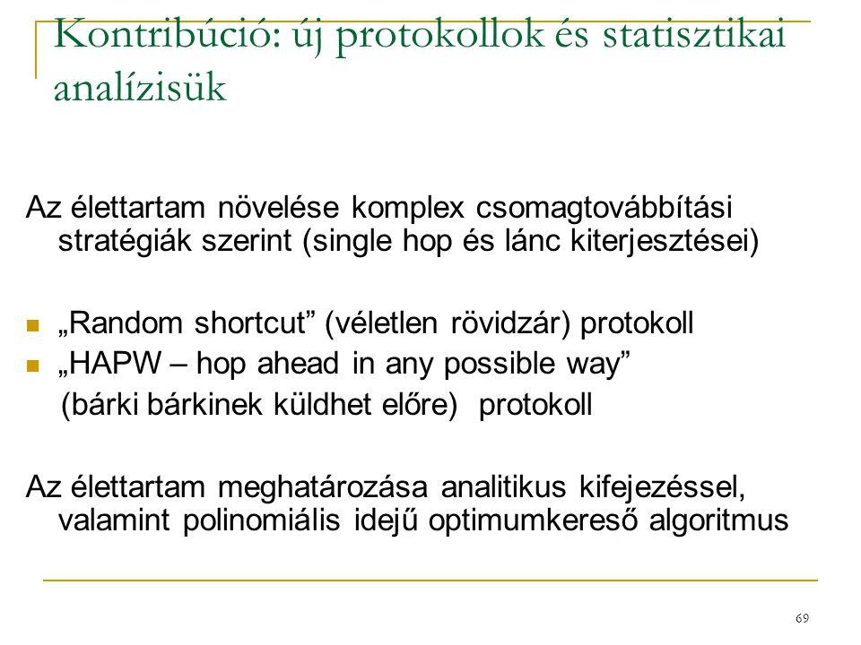 69 Kontribúció: új protokollok és statisztikai analízisük Az élettartam növelése komplex csomagtovábbítási stratégiák szerint (single hop és lánc kite
