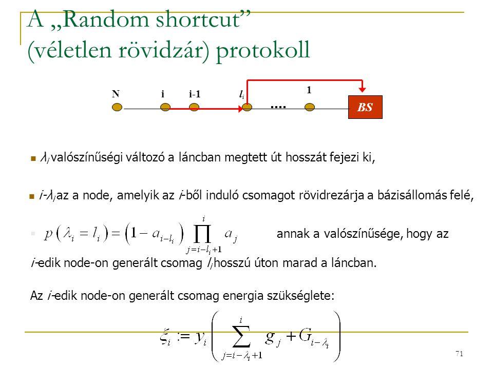 """71 A """"Random shortcut (véletlen rövidzár) protokoll Az i-edik node-on generált csomag energia szükséglete:  annak a valószínűsége, hogy az i-edik node-on generált csomag l i hosszú úton marad a láncban."""