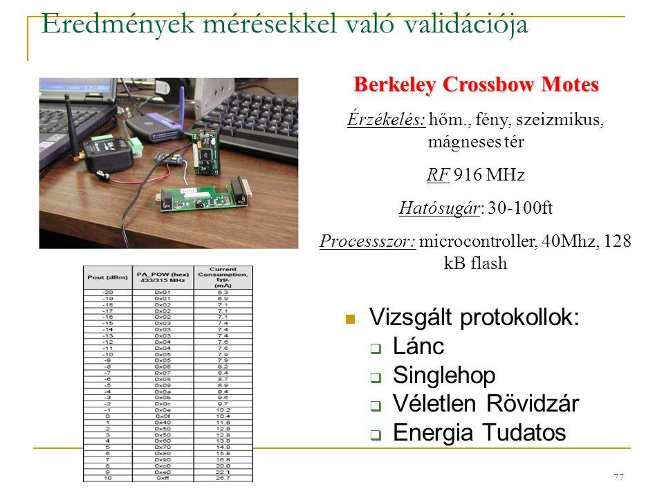 77 Eredmények mérésekkel való validációja Vizsgált protokollok:  Lánc  Singlehop  Véletlen Rövidzár  Energia Tudatos Berkeley Crossbow Motes Érzékelés: hőm., fény, szeizmikus, mágneses tér RF 916 MHz Hatósugár: 30-100ft Processszor: microcontroller, 40Mhz, 128 kB flash