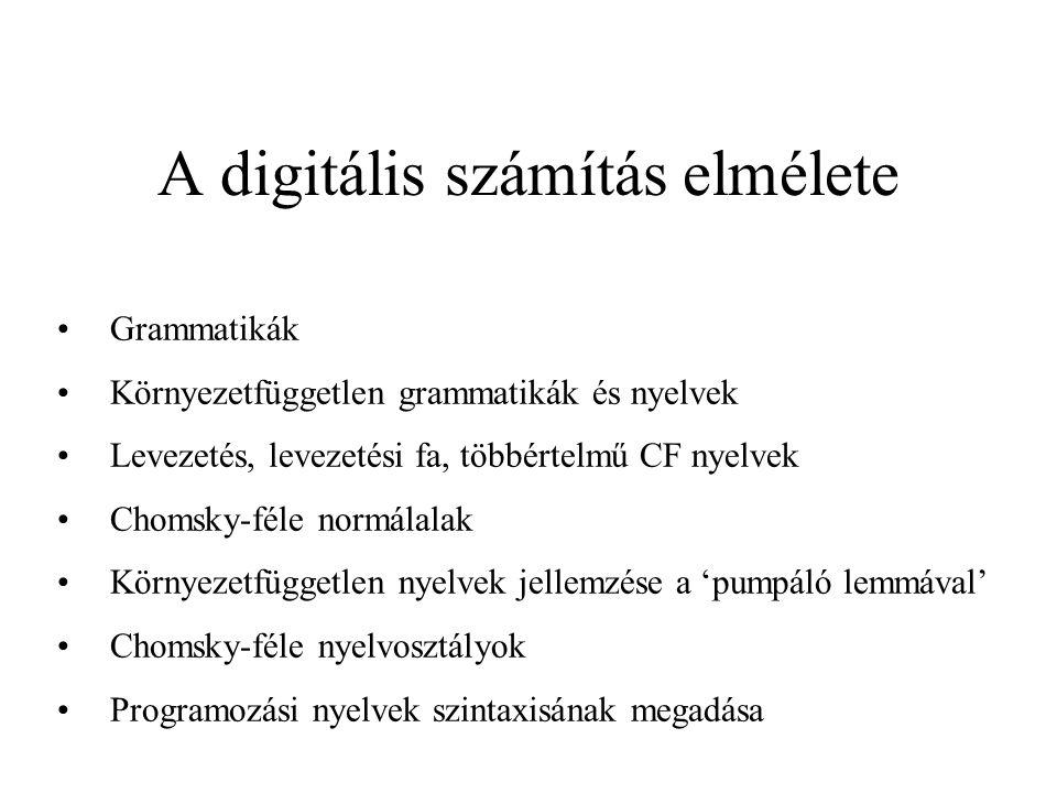 Chomsky-féle normál alak (CNF) Definíció: A G = (V, , R, S) CF grammatika Chomsky-féle normál alakban adott, ha a szabályok az alábbi alakúak: A  BC A  a S   ahol A, B, C  V, a , B és C nem kezdőszimbólumok.