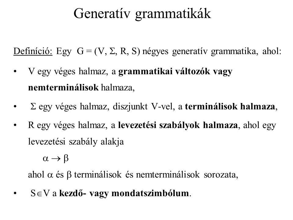 Generatív grammatikák Definíció: Egy G = (V, , R, S) grammatika alapján a  (V  )* szóból közvetlenül levezethető a  (V  )* szó, ha léteznek olyan  (V  )* szavak és    szabály R-ben, hogy:  =    =    Jelölés:   G  vagy   