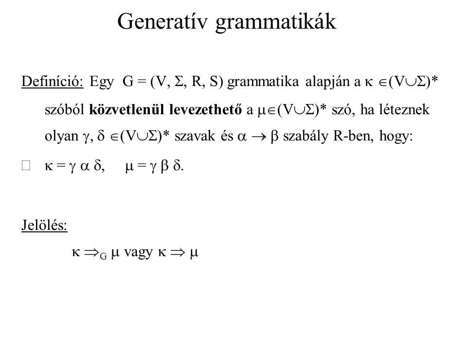 Generatív grammatikák Definíció: Egy w 1,...